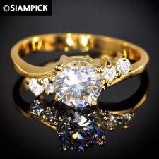 Buy CZ 24k Ring Size 7.25 Wedding Engagement Thai Baht Yellow Gold GP Jewelry New #7