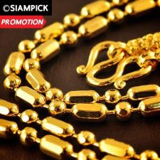 """Buy 24"""" Thai Baht 22k 24k Yellow Gold Plated Bead Mens Chain Necklace Jewelry N016"""
