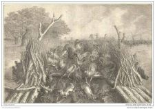 Buy ZAMBIA (AFRICA) - MASS HUNTING OF ANIMALS - engraving from 1866