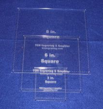 """Buy 3 Piece Square w/Seam Quilting Templates Set -3"""",6"""", 8"""" Clear Acrylic 1/8"""""""