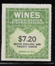 Buy US Internal Revenue $7.20 Wine Tax Stamp RE160 Series 1941 Mint NH