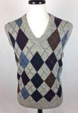 Buy Royal Scott Sweater L Mens Gray Wool Argyle Vest