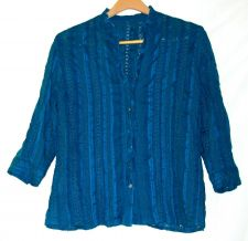 Buy EUC womens, Sz.XL, blue, 3/4 sleeve, v-neck, button down, blouse