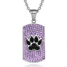 Buy Wolf Paw Austrian Crystal Amulet Protection Powers Lavender Purple Jet Black Tag Pend