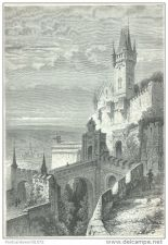 Buy THURINGIA (GERMANY) - ANCIENT CASTLE OF COBOURG - engraving from 1872