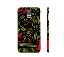 Buy Skerl Yellow Red Black Flowers Samsung Galaxy S5 Phone Case