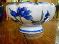Buy Scalloped top Blue Iiris Floral Planter Porcelain Dish 8 in wide x 5 in tall