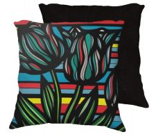 Buy Kratochvil 18x18 Red Blue Yellow Black Pillow Flowers Floral Botanical Cover Cushion