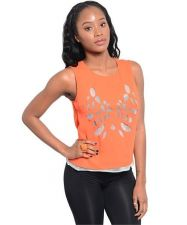Buy Casual Orange Sleeveless Woven Top With Laser Cutout Semi- Sheer S,M,L