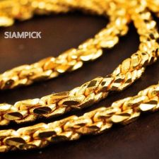 "Buy 24"" Thai Baht 22k 23k 24k Yellow Gold Plated Wheat Chain Long Necklace Mens N009"