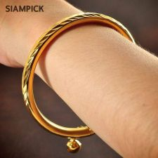Buy 22k 24k Thai Baht Yellow Gold Plated GP Bangle Bracelet Stackable Jewelry B080