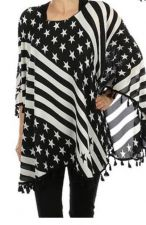 Buy Black Stars And Stripes Poncho Scarf