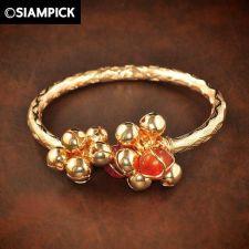 Buy 24k Thai Bath Yellow Gold GP Hoop Bangle Bracelet Bell Charm Real Jewelry GF #68