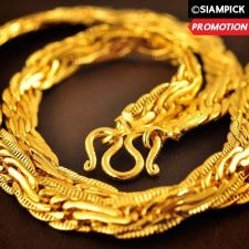 "Buy 24"" Thai Baht 22k 24k Yellow Gold Plated GP Chain Vintage Necklace Jewelry N018"