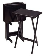 Buy Wooden TV & Dinner Tray Portable Folding Table Set 5 Piece Snack Furniture Black