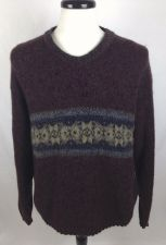 Buy Woolrich Sweater Mens L Brown Wool Long Sleeve