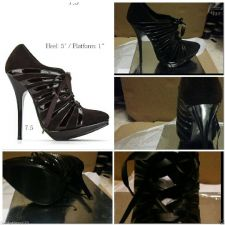 Buy HOT NEW SEXY BROWN RIBBON LACE ANKLE BOOT STILETTO 7.5
