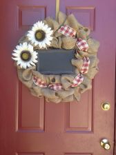 Buy Primitive Burlap Door Wreath Flowers Handmade USA Seller
