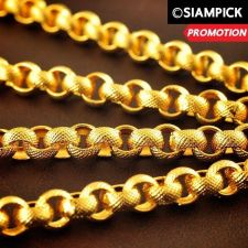 "Buy 24"" Thai Baht 22k 24k Yellow Gold Plated Rolo Chain Necklace Mens Jewelry N006"