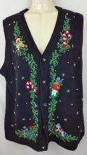 Buy Victoria Jones Christmas Holiday Black Medium Sweater Vest