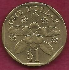 Buy SINGAPORE $1 DOLLAR 1997 FLOWER COIN Reeded Rim