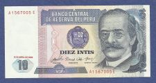 Buy PERU 10 Diez Intis 1985 Banknote A1567005E South American Currency - Crisp!