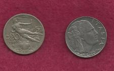 "Buy SPECIAL: Two ITALY 20 Centessimi Coins ""WWII Facist Italy"" & ""RARE Liberty in Flight"""