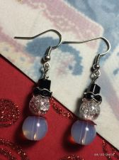 Buy Christmas Stardust Snowman Hand Beaded Earrings