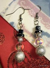 Buy Christmas Hint Of Pink Snowman Hand Beaded Earrings
