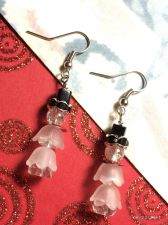 Buy Christmas Melting Snowman Hand Beaded Earrings