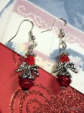 Buy Christmas Angel Hand Beaded Earrings