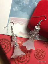 Buy Christmas Tree Top Angel Hand Beaded Earrings