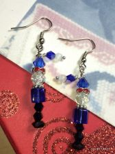 Buy Christmas Santa Helper Blue Elf Hand Beaded Earrings