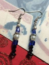 Buy Christmas Santa Helper Elf Blue Hand Beaded Earrings