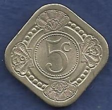 Buy World Coins - NETHERLANDS 5 Cents 1943 Coin WWII Era Currency! CURACAO