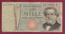 Buy ITALY MILLE LIRE 1969 VERDI P.101c CIRCULATED NOTE LB 702798 - Giuseppe Verdi