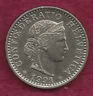 Buy Switzerland 20 Rappen 1991 Libertas Goddess of Liberty Coin