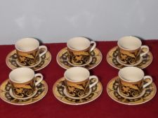 Buy LYNNS' Set of 6 Demitasse Cups & Saucers (Black Valetta) - NEW IN BOX