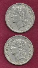 Buy SPECIAL! Two France 5 Francs WWII Era Coins 1945 B &1947 * 2 FRENCH COINS !!! *