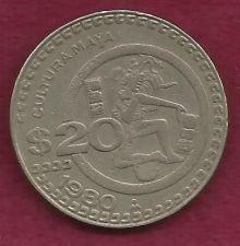 Buy Mexico $ 20 Pesos 1980 Coin, Cultura Maya Commemorative Mexican Coin - Engraved Rim