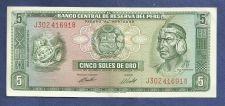 Buy Peru 5 Soles de Oro 1974 Banknote J302416918 - Inca Chief/Fort - Crisp Note!