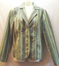 Buy Erin by Erin London Blazer Small Aqua Stripe Jacket Polyester Blend S