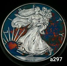 Buy 2015 Rainbow Toned Silver American Eagle 1 ounce fine silver uncirculated #a297