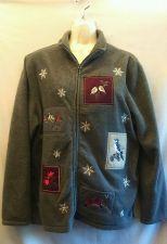 Buy Croft & Barrow Bird fleece sweater Large Gray snowflakes L