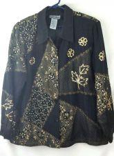 Buy Indigo Moon 1X black Gold Sequin Embrodiery Jacket Blazer Plus size