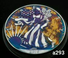 Buy 2015 Rainbow Toned Silver American Eagle 1 ounce fine silver uncirculated #a293