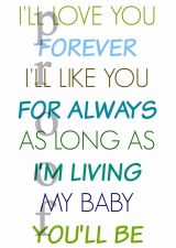 """Buy 5x7"""" Nursery Print - Digital - LOVE YOU FOREVER book quote - emailed day of!"""