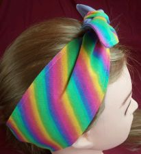 Buy Rainbow Headband hair wraptie bandana self tie hand made 100% Cotton