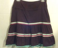 Buy American Eagle skirt 0 Brown Teal Pleated Cotton Flare out skirt Juniors