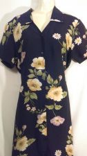 Buy Notations medium Dress navy blue floral button down M Polyester
